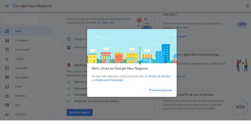 Como colocar a sua empresa no Google Meu Negócio - Conta criada