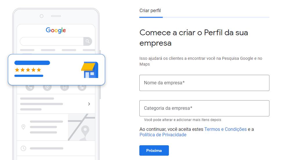 Criar perfil da empresa no Google Meu Negócio