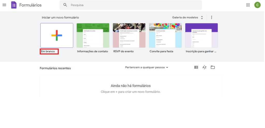 Google Forms - Documento em branco