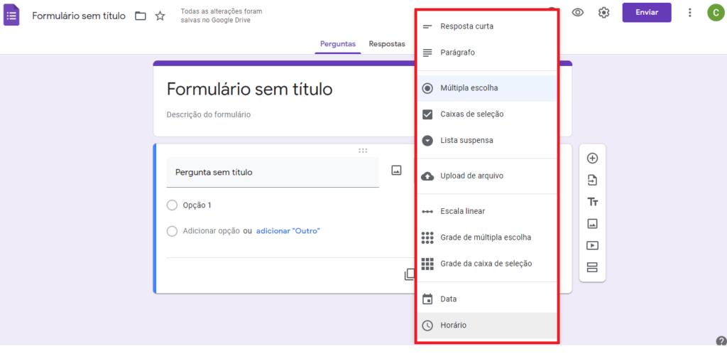 Google Forms - Opções de perguntas