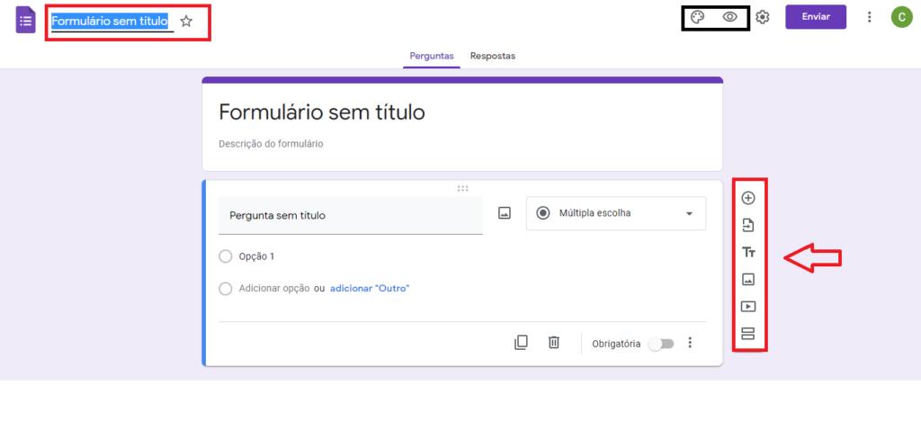 Google Forms - Página de criação