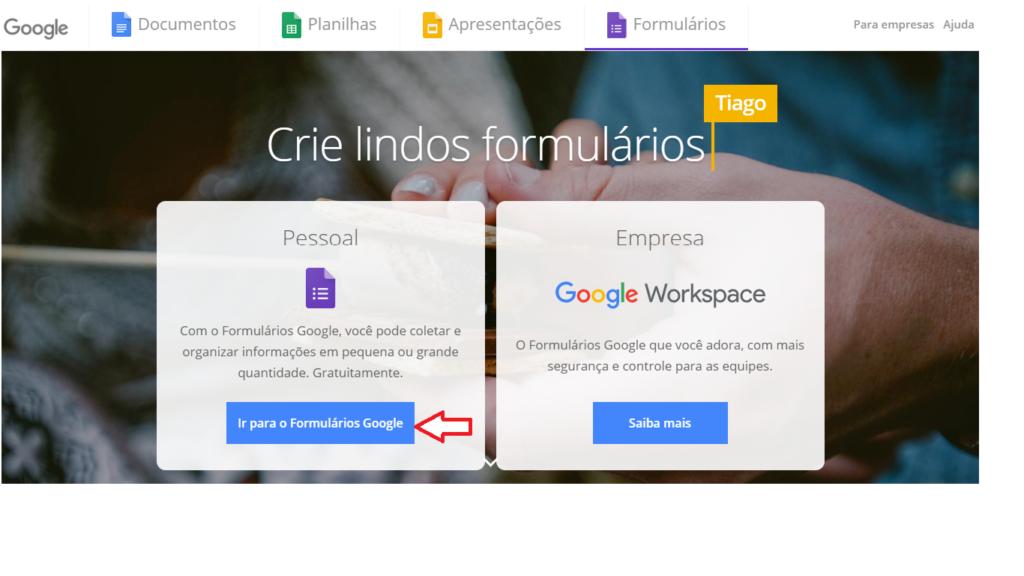 Google Forms -  Página inicial