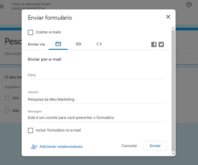 Google Forms - Salvar formulário