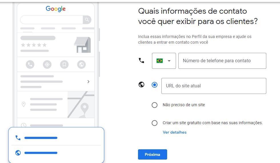 Telefone para contato no Google Meu Negócio